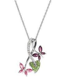 Kaleidoscope Multicolor Swarovski Crystal Double Butterfly Pendant 1 9 10 Ct. T.W. In Sterling Silver