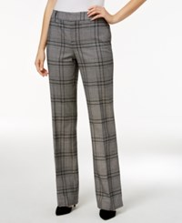 Charter Club Plaid Tummy Control Pants Only At Macy's Deep Black Combo