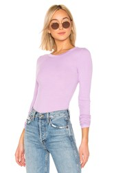 Enza Costa Rib Fitted Crew Neck Top Lavender