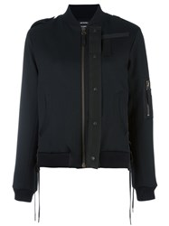 Anthony Vaccarello Slim Fit Bomber Jacket Black