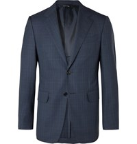 Dunhill Navy Kensington Unstructured Prince Of Wales Checked Wool Suit Jacket Blue