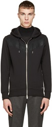 Diesel Black Chevron Leather Detail Hoodie
