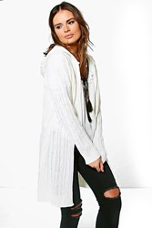 Boohoo Cable Knit Hooded Cardigan Cream