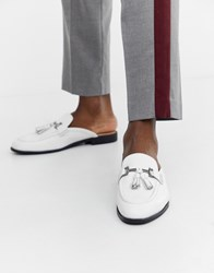House Of Hounds Bardin Slip On Loafers In White Leather