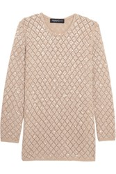 Pringle Of Scotland Sequinned Open Knit Cashmere Sweater Beige