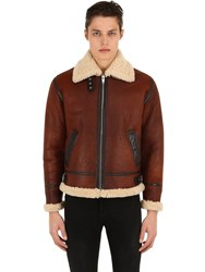 The Kooples Shearling Jacket W High Collar Brown
