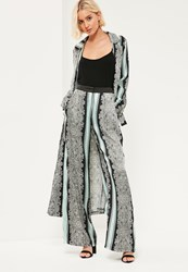 Missguided Green Paisley Printed Satin Trousers Mint