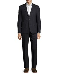 Versace Pinstripe Two Piece Wool Blend Suit Black Blue