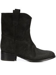 Chuckies New York Stacked Heel Ankle Boots Black