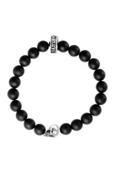 King Baby Studio Sterling Silver Skull Charm Onyx Bead Stretch Bracelet Black