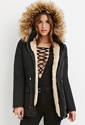 Forever 21 Faux Fur Puffer Jacket Black
