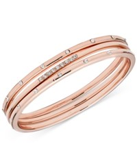 Anne Klein Rose Gold Tone 3 Pc. Set Crystal Stud Bangle Bracelets