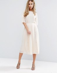 Warehouse Lace Insert Pleated Midi Skirt Cream