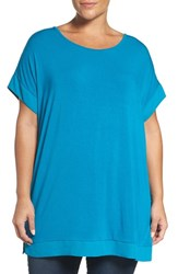 Sejour Plus Size Women's Chiffon Trim Tunic Teal Turkish