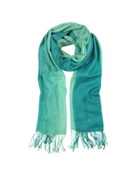 Mila Schon Gradient Green Wool And Cashmere Stole