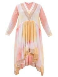 Juliet Dunn Embroidered Tie Dyed Cotton Dress Pink Multi