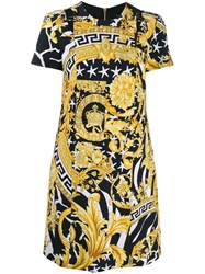 Versace Baroque Print Short Dress Gold