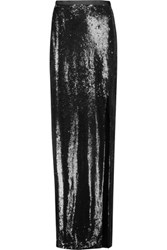 Halston Heritage Sequined Crepe Maxi Skirt Black