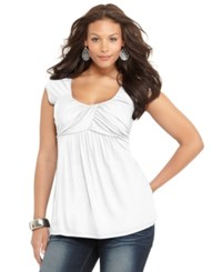 Soprano Plus Size Cap Sleeve Ruched Empire Top White
