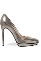 Casadei Metallic Leather Pumps Gunmetal