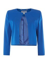 Marella Cuffia Short Collarless Jacket Blue