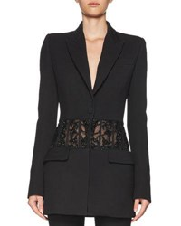 Alexander Mcqueen Beaded Sheer Panel Jacket Black