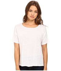 Heather Linen Flounce Back Box Tee White Women's Clothing
