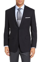 Canali Men's Big And Tall Classic Fit Solid Wool Blazer Navy