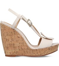 Roger Vivier Buckled Leather Wedges White