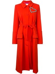 Carolina Herrera Heart Embellished Coat Red