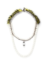 Venna Faux Fur Resin Pearl Marble Bead Pendant Necklace Yellow Multi Colour
