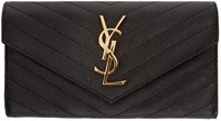 Saint Laurent Black Quilted Large Flap Monogram Wallet