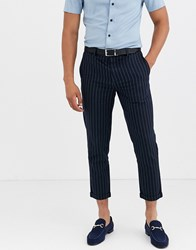 Only And Sons Slim Fit Cropped Chalk Stripe Trousers In Navy