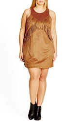 City Chic Plus Size Women's Fringe Faux Suede Shift Dress