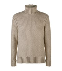 Gieves And Hawkes Chunky Knit Turtleneck Sweater Beige