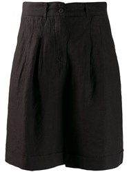 120 Lino Wide Leg Shorts Black