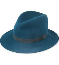 Rag And Bone Floppy Brim Wool Felt Fedora Deep Teal