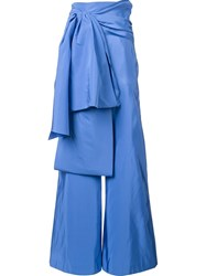 Rosie Assoulin Oversized Bow Trousers Blue