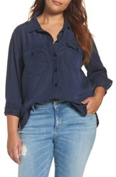 Rebel Wilson X Angels Plus Size Women's Soft Woven Army Shirt Dark Chambray