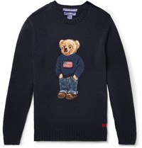 Ralph Lauren Purple Label Bear Intarsia Cashmere Sweater Navy