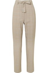 Maje Belted Checked Woven Tapered Pants Stone