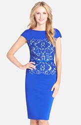 Tadashi Shoji Belted Embroidered Neoprene Sheath Dress Mystic Blue Ivory