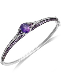 Macy's Sterling Silver Bracelet Amethyst 5 1 8 Ct. T.W. And White Topaz 3 4 Ct. T.W. Pave Bangle