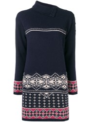 Chanel Vintage Intarsia Knitted Dress Blue