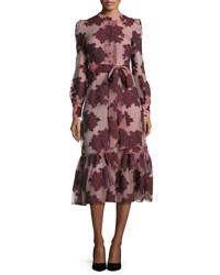 Co Floral Belted Long Sleeve Midi Dress Burgundy