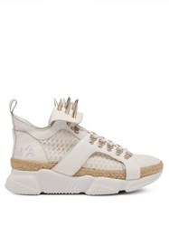 Marques'almeida Spike Studded Leather And Raffia High Top Trainers White