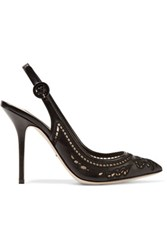Dolce And Gabbana Laser Cut Leather Pumps Black