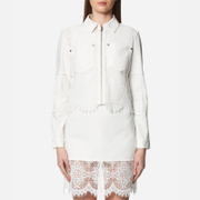Mcq By Alexander Mcqueen Women's Hybrid Lace Bomber Jacket Ivory White
