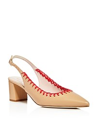 Kate Spade New York Madison Stitched Slingback Pointed Toe Pumps Natural Red