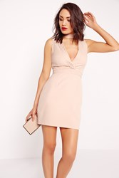 Missguided Choker Pleated Bust Bodycon Dress Nude Beige